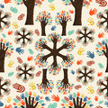 Diversity tree hands pattern Stock Image