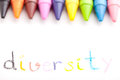 Diversity the word handwritten by a child concept of education Stock Image