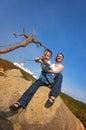 Divertimento da família na borda de Europa Fotografia de Stock Royalty Free