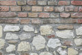 Divided brick and stone wall texture