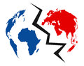 Divided world concept an illustration representing a with earth map in blue and red colours Stock Image