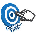 Dividend stock yield word on a target circle click by a little hand icon earning concept Stock Photo