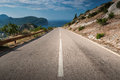 Dividing line on the coastal mountain highway in montenegro Royalty Free Stock Photo