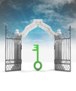 Divine key way to heavenly gate with sky flare Royalty Free Stock Photo