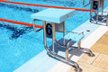 Diving boards view of a row of in a olympic pool Stock Photography