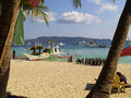 Diving boats with tanks on shore to take tourists in borocay philippines local economy is heavily dependent on Stock Photography