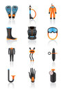 Diving equipment and accessories Royalty Free Stock Photos