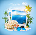 Diving equipment and corals on sand travel background Stock Photo