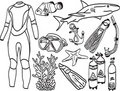 Diving equipment and sea life Royalty Free Stock Photography