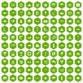 100 diving icons hexagon green