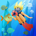 Diving young girl diver underwater in the eps file each element is grouped separately Royalty Free Stock Photos