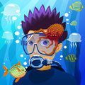 Diving young man diver underwater in the eps file each element is grouped separately Stock Photos