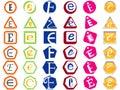 Divisas y etiquetas de los iconos de la letra E Foto de archivo libre de regalías