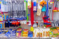 Division of household goods in store for house cleaning the supermarket Stock Photography