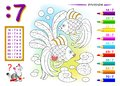 Division by number 7. Math exercises for kids. Paint the picture. Educational page for mathematics book.