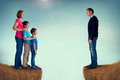 Divorce concept family separation men women and children separated by a chasm Royalty Free Stock Photography
