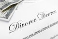 Divorce decree closeup of a and money Royalty Free Stock Images