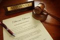 Divorce decree with gavel and attorney nameplate Royalty Free Stock Photography