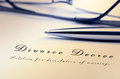 Divorce decree and silver stylish pen shot Royalty Free Stock Photo