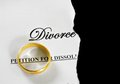 Divorce paper split torn decree with gold wedding ring Royalty Free Stock Images