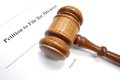 Divorce petition for and legal gavel Royalty Free Stock Photo