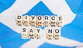 Divorce say no scottish flag saltire with text in black upper case letters on small white cubes saying relating to the referendum Stock Photos
