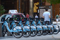 Divvy bike rental station in downtown chicago july bicycle shown july within the first month of operation over trips have been Stock Image