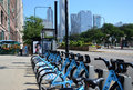 Divvy bike rental station on michigan avenue chicago july bicycle in shown july within the first month of operation over trips Royalty Free Stock Photography
