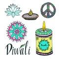 Diwali colorful signs collection. Lotus, rangoli, diya and peace hand drawn symbol Royalty Free Stock Photo
