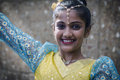 Diwali dancer an unidentified teenage in traditional costume prepares to dance on stage during celebrations in auckland Royalty Free Stock Image