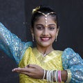 Diwali dancer an unidentified teenage in traditional costume prepares to dance on stage during celebrations in auckland Stock Image