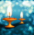 Diwali festival with beautiful lamps background illustration Stock Images