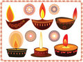 Diwali Oil Lamps With Mandala Design Stock Photos