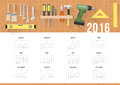 Diy calendar and home renovation with work hardware tools hanging on a pegboard Stock Images