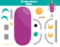 DIY children educational creative game. Make a robot with scissors and glue. Paprecut activity. Creative printable tutorial for ki