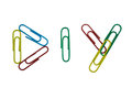 Diy colourful paperclips arranged into Stock Photography