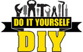 DIY do it yourself banner with silhouettes of workers tools: ham