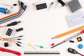 stock image of  DIY Electronic Kit , Robot made on base of micro controller with variety of sensor and tools. Closeup.