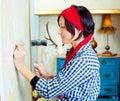 Diy fashion woman with nail and hammer Royalty Free Stock Photo