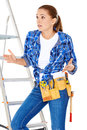 Diy handy woman at her wits end raising palms in the air to indicate that she does know the answer or have a solution to the Stock Image