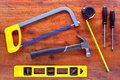DIY Handyman Tool Set on Wood Workbench Royalty Free Stock Photography