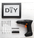 DIY home decoration tool set for picture frame. Photo frame wall installation Royalty Free Stock Photo