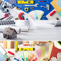 Diy and home improvement renovation banners set with work tools swatches model house Royalty Free Stock Image