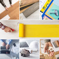 Diy and home renovation steps improvement step by step collage with professionals hands at work roller paint at center with copy Stock Photos