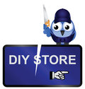 Diy store sign comical vandalised isolated on white background Royalty Free Stock Image