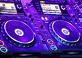 Dj cd player and mixer in nightclub Royalty Free Stock Photo