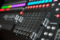 Dj console with sliders Stock Images