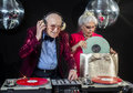 Dj grandma and grandpa Royalty Free Stock Photo