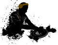 Dj grunge in black ink Stock Image