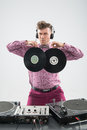 DJ having fun with vinyl record Royalty Free Stock Photo